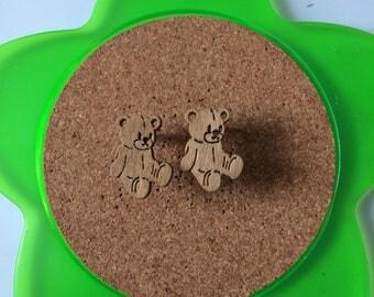 Handmade wooden brown teddy bear stud earrings
