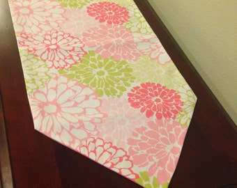 Spring Table Runner, Pink, Green, Fuchsia and White, Floral Pattern, Spring Table Decor, Summer Table Runner, Pink Table Runner.