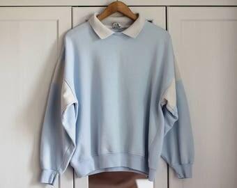 Sweatshirt Vintage Sky Blue Retro Top Oldschool 1980s fashion Women Clothing Gray Collar Long Top AVANTI / Large size