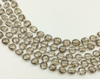 "Smokey Quartz Checker Beads 8-9 mm (ONE 8"" Strand)"