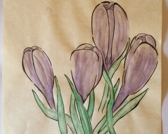 Watercolour Crocus, A4 Original Illustration, One of a Kind, Hand Drawn, Parchment Paper