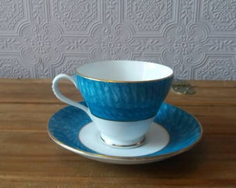 Royal Imperial tea cup, blue tea cup, vintage tea cup and saucer, country style wedding, afternoon tea