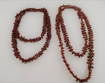 "Brown Apple Seed Necklaces (Set of 2) 23"" and 27"""