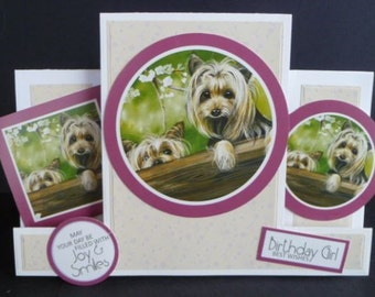Lovely Yorkies special shaped card for a Birthday Girl 7x5   260