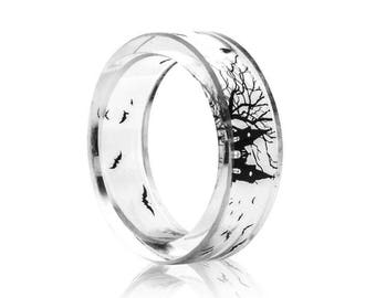 transparent clear  resin ring black castle tree and bat inside