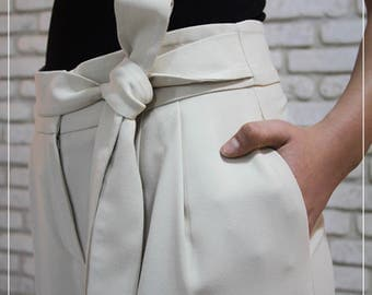 White Culottes, Women's Loose Trousers, White Palazzo Pants, White Harem Pants, High Waist Pants, Culottes, Wide Leg Trousers, Wide Pants