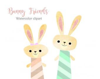 Bunny Clipart, Rabbit clipart, Cartoon clipart, Watercolor clipart, Friends clipart, Childrens Clipart, Kids graphics, Sticker graphics