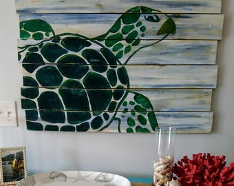 Sea Turtles Pallet Art, Fence art, Ocean art, Reclaimed wood, Sea turtle art, Turtle Wall Hanging, Coastal Decor