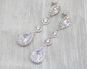 Long earrings silver cubic zirconia wedding bride