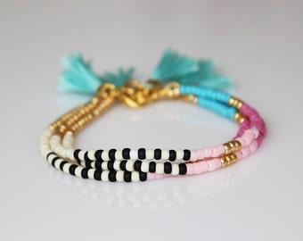 Boho chic bracelet friendship bracelet Tassel Bracelet ONE beaded  bracelet-Turquoise tassel