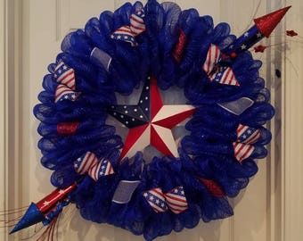 4th of July wreath, Patriotic wreath, Fourth of July wreath, USA wreath, Stars and Stripes