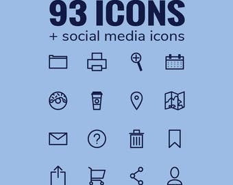 Icon Pack - 93 Vector + Social Media Icons - Direct Download