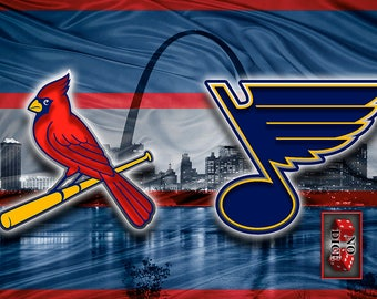 St. Louis Sports Teams Poster,  St. Louis Cardinals St. Louis Blues Poster St Louis Man Cave Gift