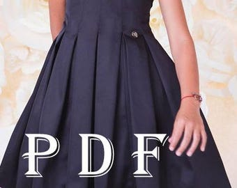 Dress PDF pattern  sizes 128 children's sewing pattern  Instant download digital pattern