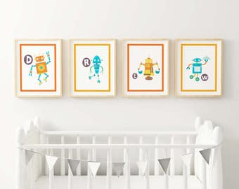 Cute Robot Letters Fine Art Print - Spell out your baby's or child's name for a personalized look for their room or nursery.
