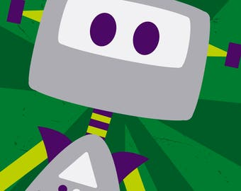 Beep Boop! Greg the Gray Robot Close up Fine Art Print