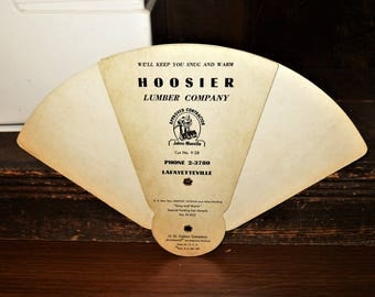 Hoosier Lumber Company Phone 2-3780 Lafayetteville IN Vintage Advertising Snug and Warm Special Folding Fan Sample