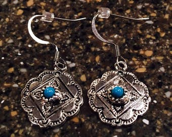 Silver and turquoise dangle drop earrings