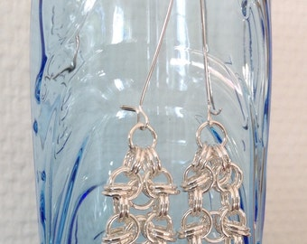Silver Rhino chain earrings