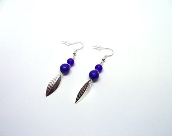 Royal Blue Pearl leaves earrings
