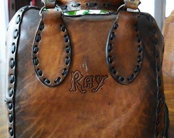 Vintage Handmade Leather Bowling Bag