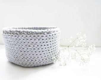 Grey cotton basket|nursery decor|storing basket|grey basket|crocheted basket|cotton cord basket|