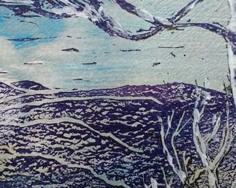 Snowy Morning, Hadrian's Wall Country, linocut, acrylic, watercolour