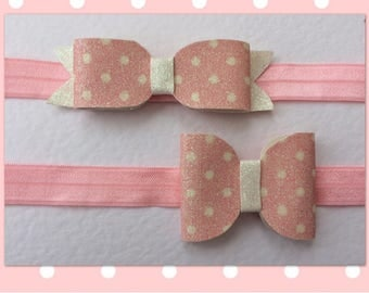 Baby Pink and White Spot Glitter Bow on a Baby Pink Headband