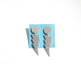 Silver Glitter Lightning Bolt Earrings - laser cut acrylic