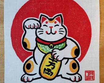 Lucky Money Cat- Maneki Neko Print