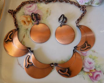 Great copper necklace and clip earring set