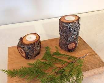 Set of 2 Lodgepole Pine Candle Holders