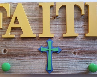Wooden Faith Sign, Weathered Wood, Hanging Knobs