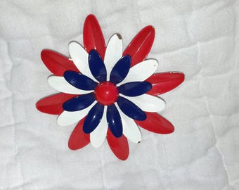Vintage red white and blue flower pin