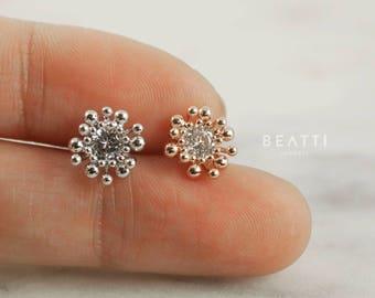 Chrysanthemum CZ Cartilage Earrings/ Conch earrings/Helix/Piercing Jewelry/Tragus earrings/Conch stud/Flower Piercings