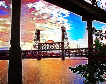 Steel Bridge, Fine Art Photography, Portland Bridges Art