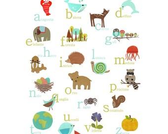 Italian Alphabet Wall Art, Digital Download Print, 11x14, Nursery Wall Art, Animal ABC Art, Nature Themed, Gender Neutral Nursery
