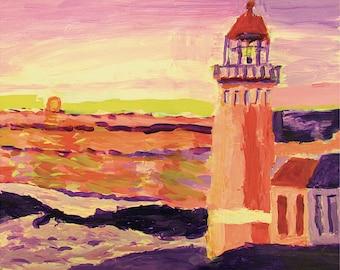 Sunset Lighthouse 17x25 Print