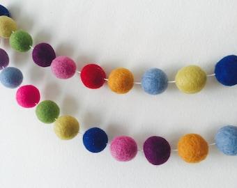 Rainbow Felt Ball Garland, Childrens room decor, Wedding venue decor, Felt ball craft, Garland, Pom pom garland.