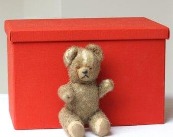 Vintage Mini Soft Toy Bear // Antique Stuffed Toy Bear 16 cm x 9 cm
