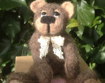 Needle felted Bear,EGGMO Bear,Needle Felted animal.