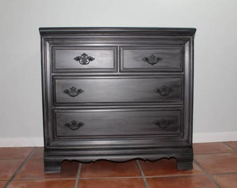 Gray and Black Dresser, Office Furniture, Vintage Dresser, Small Dresser
