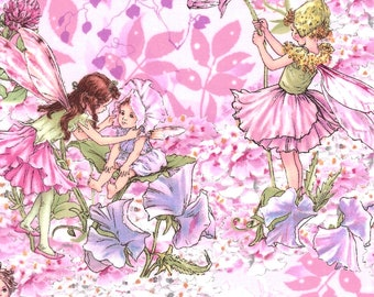Cicely Mary Barker Flower Fairy Fairies Characters on Pink 100% Cotton Fabric by Michael Miller - FQ