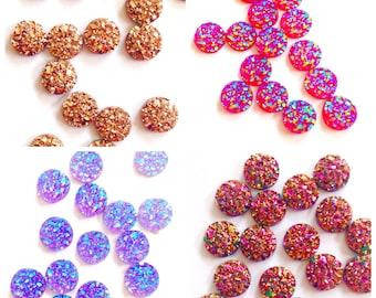 8mm druzy, mix color bulk druzy, purple, rose gold, wholesale druzy stone, small tiny druzy, resin faux druzy,druzies,druzy supplies,jewelry