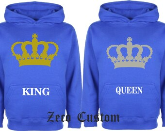 KING And QUEEN HOODIESMatching Love  Big Crown Hoodies Nice And new Logo