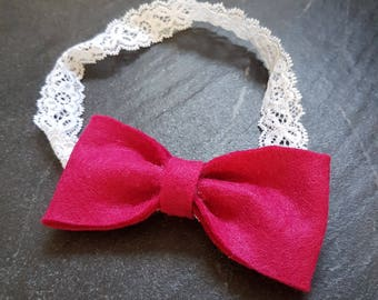 Raspberry red bow with lace headband