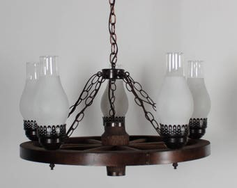Hand-made Folk Art Wagon Wheel 5-Lamp Chandelier