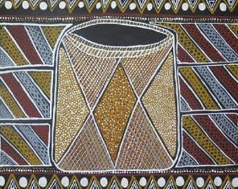 Aboriginal Art: Traditional Tiwi bark basket, used to carry food when out getting bush tucker.