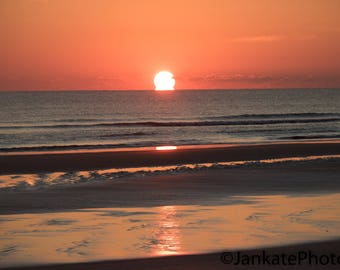 Sunrise, ocean, Daytona beach, metal print, beach decor, nature art, art print, orange, blue, Florida