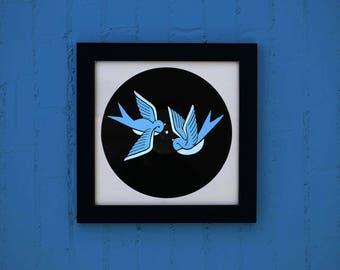 Vinyl silkscreen birds / / displays decoration birds music